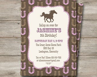 Horse Invitation with Editable Text, Printable Horse Party Invitation, DIY Western Horse Birthday Party Invitation, Horse Party Invitation