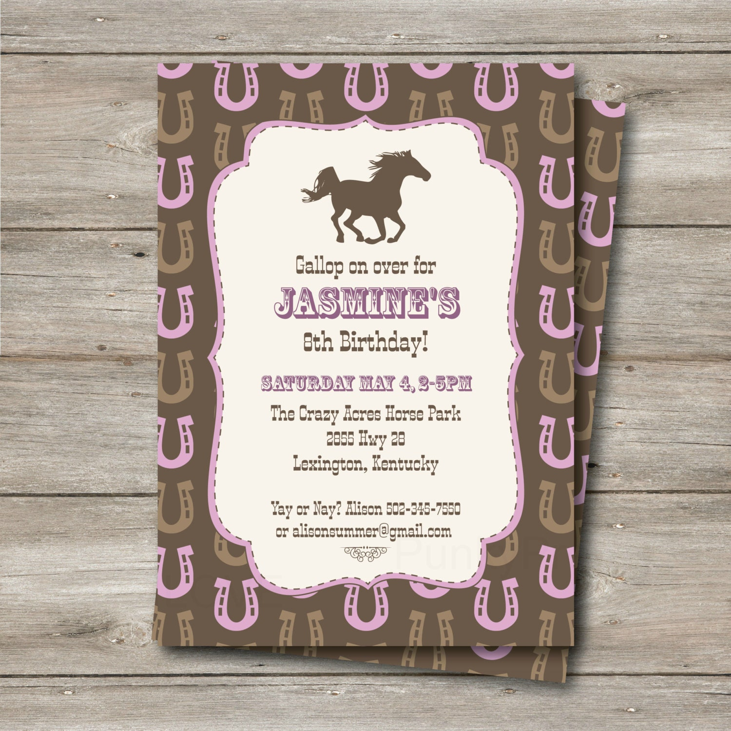 Horse Invitation With Editable Text Printable Horse Party