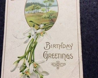 Vintage Postcard Birthday Greetings 1910 Collectible Postcards-Paper Emphemara-Easter Lillys