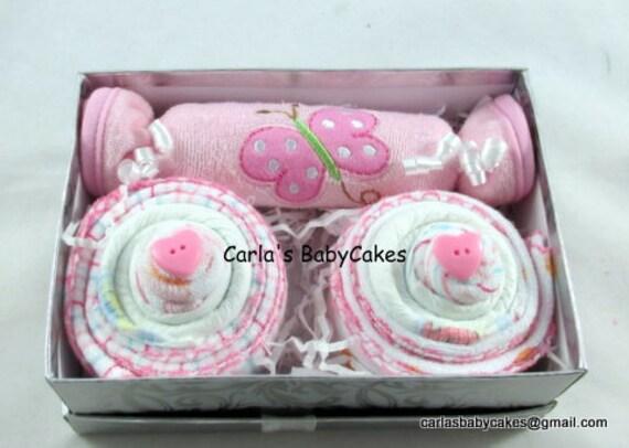 Burp Cloth Gift Set, Baby gift,Diaper Cupcakes,New Mom Gift, Baby ...