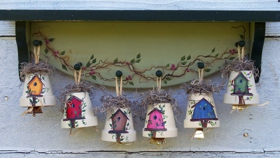 Decorative Birdhouse Bell Ornament; Red, Yellow, Blue, Pink, Green, Brown