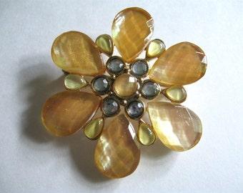 "2"" Wide Yellow Stone/Rhinestone Flower Brooch/Pin"