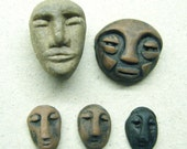 Vintage Clay Face Bead And Cabachons Tribal Primitive
