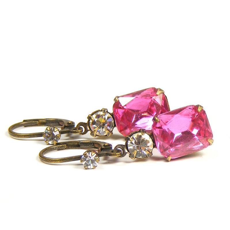 Petite Pink Earrings, Downton Abbey Vintage Style Drop Earrings with Vintage Rhinestone Jewels in Rose Pink & Clear Crystal