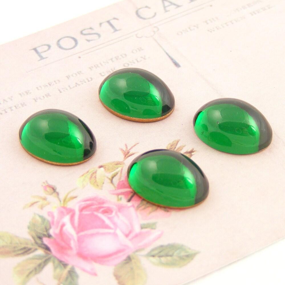 Vintage Emerald Cabochons, Emerald Green Swarovski Crystal, 14x10mm (4)