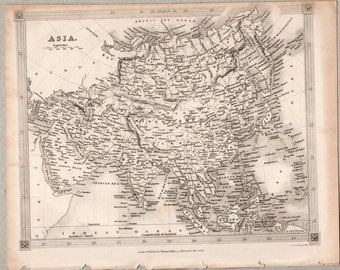1843 Vintage Map of Asia #00137