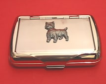 West Highland Terrier Chrome Tobacco Tin With Pewter Motif Father Westie Gift