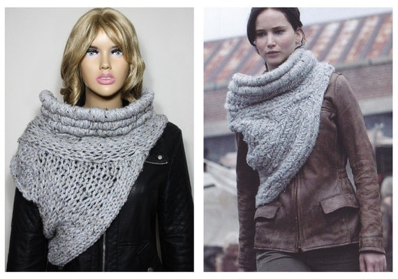 KATNISS COWL SCARF HUNGER GAMES CATCHING FIRE INSPIRED, COWL KNIT SCARF, KNIT...