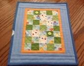 "Handmade Miniature Summer Fresh Quilt made of 1"" squares."