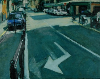 Original Oil Painting, Street Scene,  Cannes, Provence, France