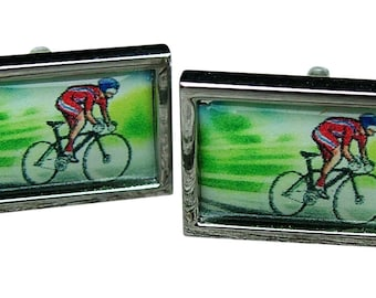 Road Cycling Cufflinks from an original colour image