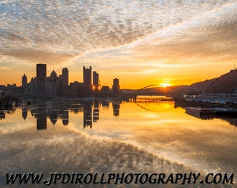 The Point Matted or Float Mount Photo Metal Print Pittsburgh Skyline West End Bridge Sunrise Picture Photograph