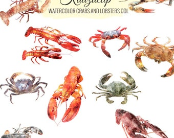 Watercolor Crabs and Lobster Collection- Commercial and Personal Use