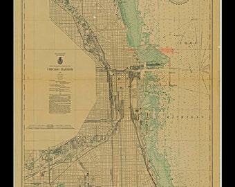 Print of Chicago Harbor -1933 Nautical Chart