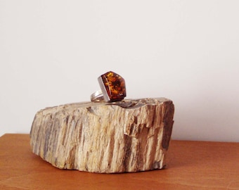 Vintage amber and sterling ring, sterling ring with chunky, trapezoid amber stone from Poland, unique vintage amber, late eighties