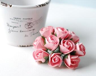 Paper Flower, 50 Budding  Pink roses.
