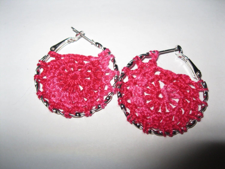 pink crochet hoop earrings by doreenhookedit on etsy