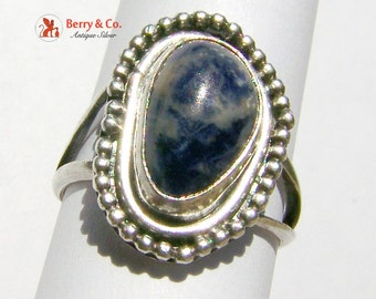 Sodalite Hand Made Ring Sterling Silver