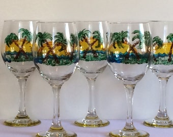 Hand Painted Palm Trees & Sunset Wine Glasses