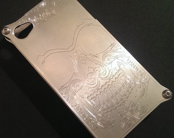 iPhone 4 & 4s Case - Custom Skull Engraved Aluminum iPhone Hard Case - Made in USA by BadassCase.Co