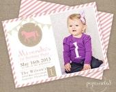 Girl Vintage Horse Birthday Invitation // Horse Invitation // Vintage Horse Party // Photo Card // DIY Printables
