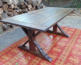 Kent Dining Table  Trestle X  Farmhouse  Reclaimed Wood  Custom  HandcraftedKent Dining Table Trestle X Farmhouse Reclaimed Wood. Farmhouse Dining Table Made In Usa. Home Design Ideas