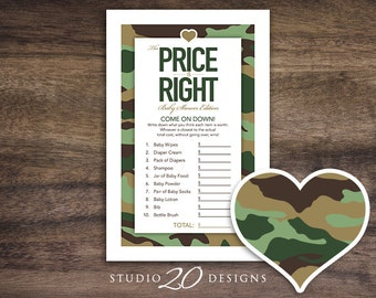 Instant Download Green Camo Baby Shower Games, Printable Camouflage The Price Is Right, Boy Baby Shower Camo Price Is Right #31B