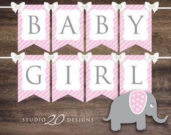Instant Download Pink Elephant Baby Shower Banner, Printable Pink Baby Girl Bunting Banner Flags, Girl Pink Elephant Banner #22B