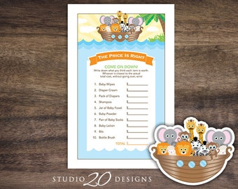 Instant Download Noah's Ark Price Is Right Baby Shower Games, Printable Noahs Ark Baby Shower Game, Noahs Ark Theme Baby Shower Game 63A