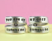 you are my sunshine/my only sunshine - Hand stamped Spiral Ring Set, Forever Family Love, Mother Daughter Rings, Personalized Gift