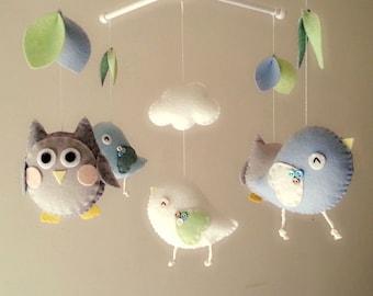 "Baby crib mobile, Bird mobile, Owl mobile, felt mobile, nursery mobile, baby mobile""Night Friends - Sky and Sliver"""