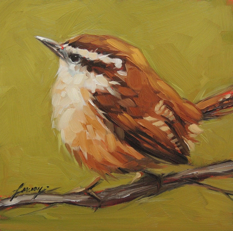 Original Oil Bird Painting Carolina Wren 6x6 bird by LaveryART