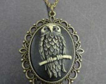 Owl Cameo Gold Frame