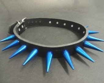 Blue Metal Spikes Choker