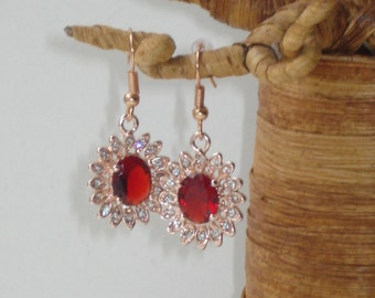 Rose Gold Red Crystal Flower Drop Earrings - Floral  Diamante  - Small Pierced Jewelry - Bridal Wedding