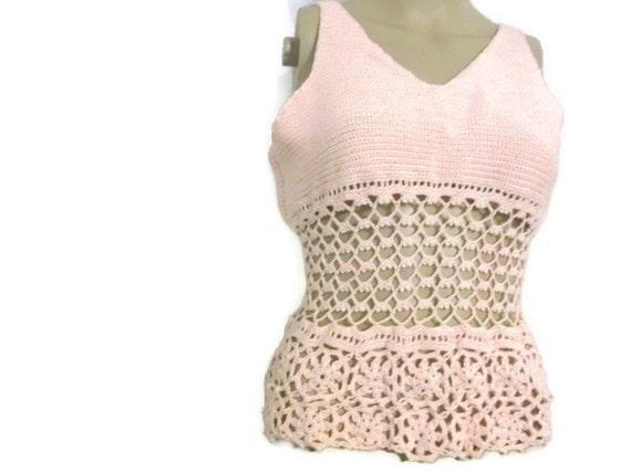 Sleveless Woman crochet Tank Top Shirt Handmade Pink Crochet Top medium size