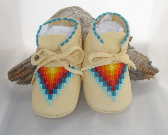 Native american beaded baby moccasins and soft soled shoes for infants
