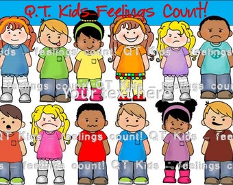 CLIP ART -  Q-T Kids  - Feelings Matter! Personal and Commercial use