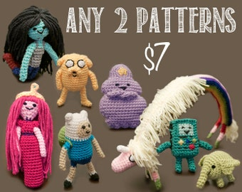Any Two (2) Adventure Time Amigurumi Crochet Patterns