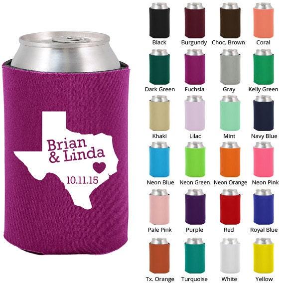 Wedding Beer Coozies (Clipart 1820) State of Texas - Personalized Koozies - Custom Koozies - Wedding Favor Koozies - Koozie