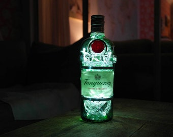 Upcycled Modern Cool Tanqueray Gin Bottle Lamp - Rare 1L - by iluvlamp