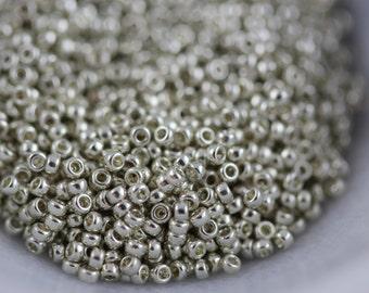 Miyuki, Galvanized Silver #181, size 15/0.Round Rocaille, 8 grams (a-15D)