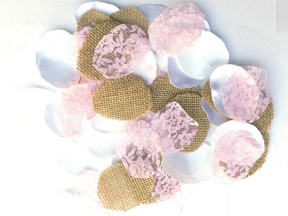 Burlap Flower Petals, 100, Pink, Blush, Lace. Handmade, Wedding Flower ...