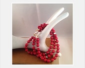 Bracelet Gemstone Beaded Red Fossil Stone, Three Strand Gold and Silver Accents