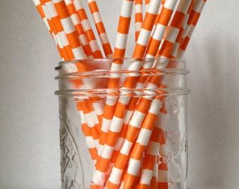 Orange and White Striped Paper Straws