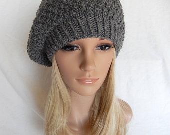 Knit Hat BERET BEANIE Handmade .. Gray Heather   (Ready to Ship)