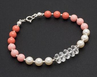 Ombre Pearl Bracelet Sterling Silver Bracelet Coral Pink Pearl Swarovski Bracelet Stacking Bracelet Sterling Silver Jewelry
