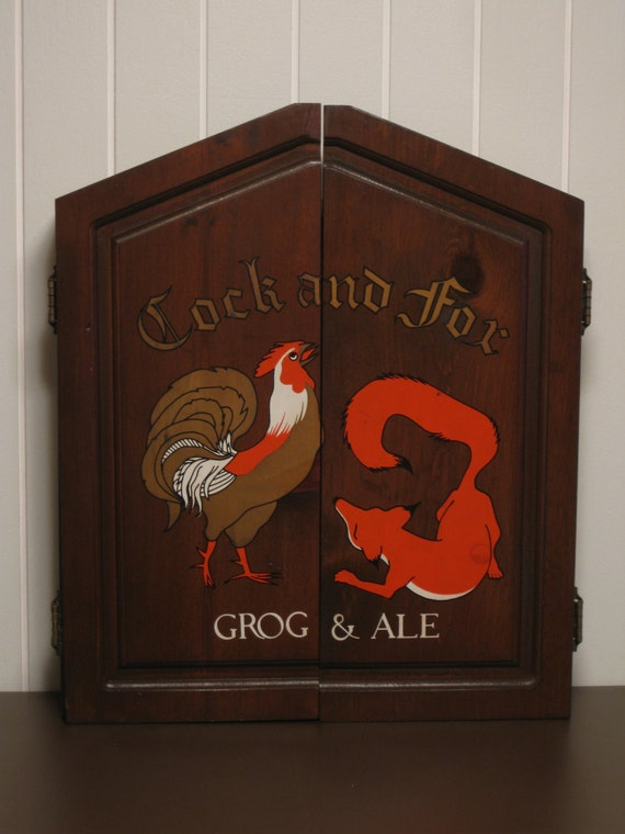 Cock and Fox Grog & Ale vintage dart board cabinet