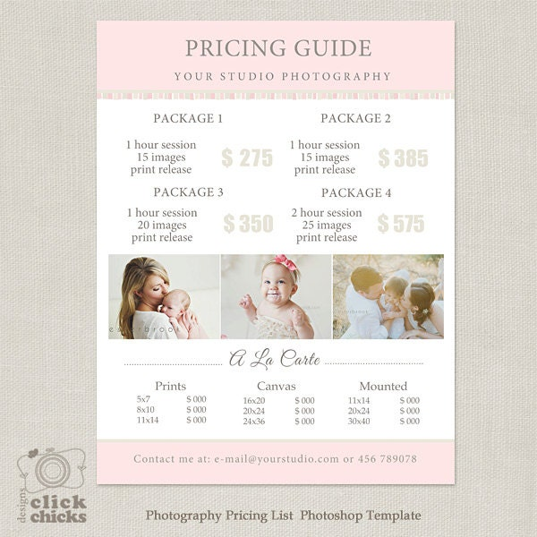Pricing: Photography Package Pricing List Template Photography