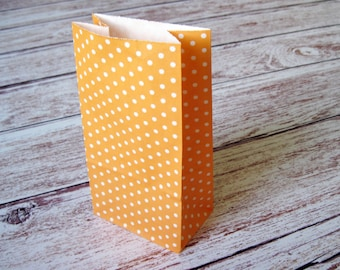Party Favor Bags-10 ORANGE Polka Dot SMALL Lunch Sack-Party Favor Bags-Wedding Gift Bag-Dotted Birthday Treat Bag-Tangerine Goodie Bag